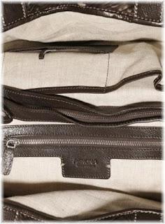 Agnona Pleated Leather Satchel Interior