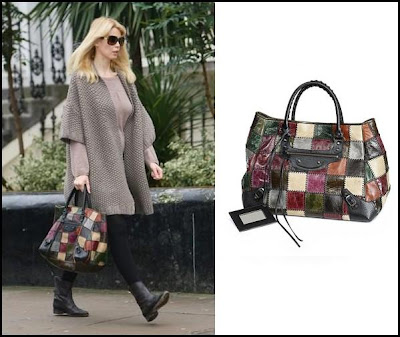 Claudia Schiffer and the Balenciaga Patchwork Shopping Bag