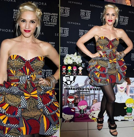 "Gwen Stefani Wears ""African Inspired"" Dress on Fashion Night Out"