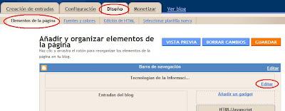 Pantalla Organizar elementos del blog