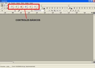 Controles básicos de Audacity