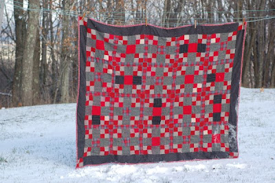 Red and grey wool patchwork coverlet