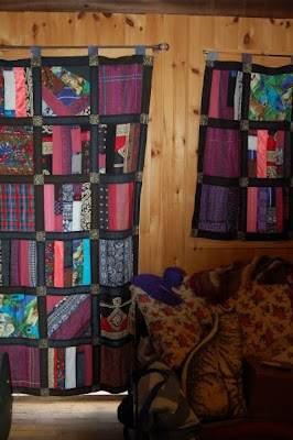 Patchwork window quilts, east window
