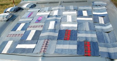 Denim patchwork cover experimental layout 1