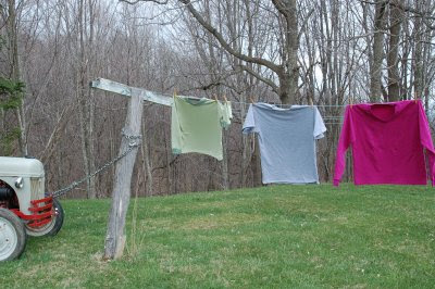 Three knit shirts on the clothesline