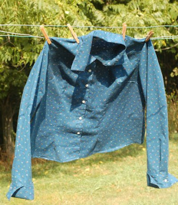 Calico shirt on clothesline