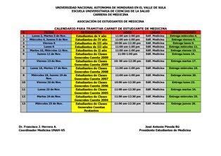 calendario para tramitar el carnet de medicina UNAH Valle de Sula