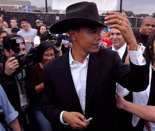 Barack Hussein Obama black cowboy hat president