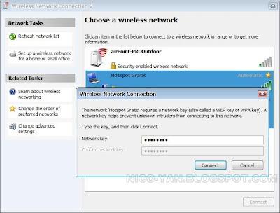 Tampilan Konfirmasi password koneksi Hotspot di Windows XP