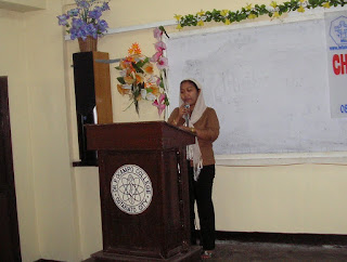 Prof. Raheima Yap, RN MAN delivering her keynote speech