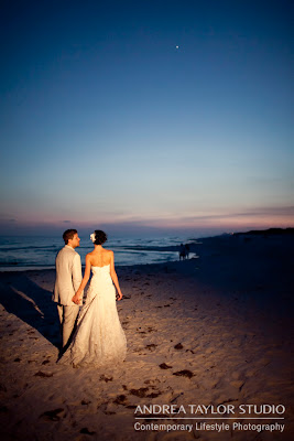 bride and groom photos at the beach after sunset