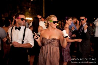 fun wedding reception outdoors at lake oconee ritz carlton sunglasses
