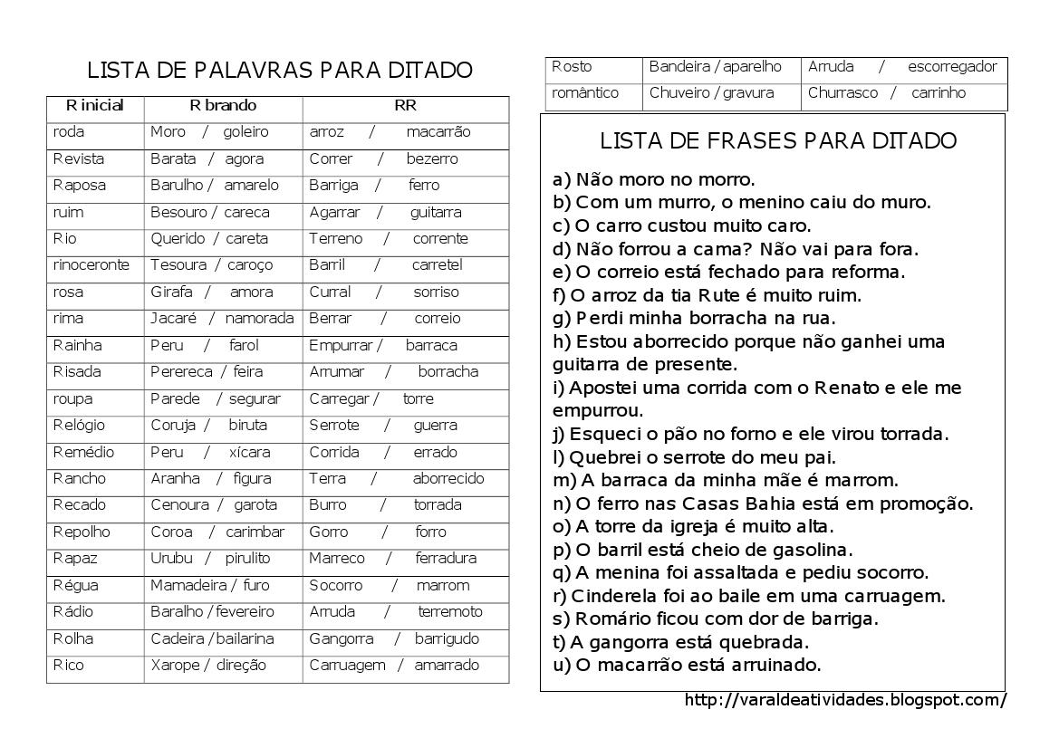 VARAL DE ATIVIDADES: Ortografia - R / RR