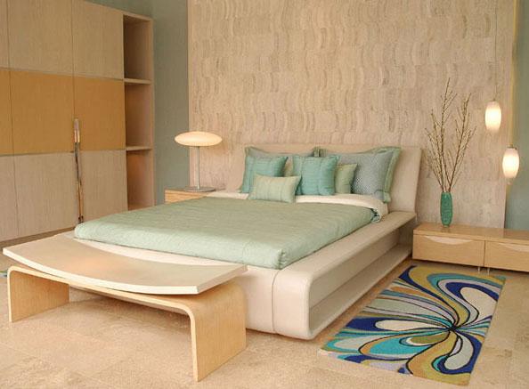 Dormitorio matrimonial con colores de playa muy comodo y relajante