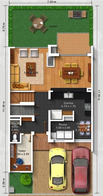 Dibujos planos de casa de 3 pisos metros cuadrados - Piso 30 metros cuadrados ...