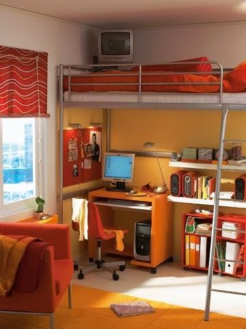 Cama elevada dormitorio juvenil ahorra - Dormitorios juveniles con poco espacio ...