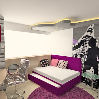 Dormitorio para jovencita amante de la musica en fucsia via www.dormitorios.blogspot.com