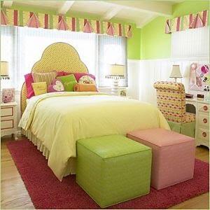 Verde lim n crema y rosa decoran esta linda habitaci n - Dormitorio para ninas ...