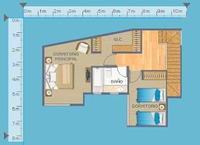 Plano de departamento duplex de 103m2 con 2 dormitorios for Plano departamento 2 dormitorios