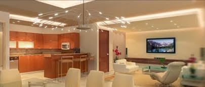 Sala y comedor modernos en color marfil con barra for Barras modernas para living