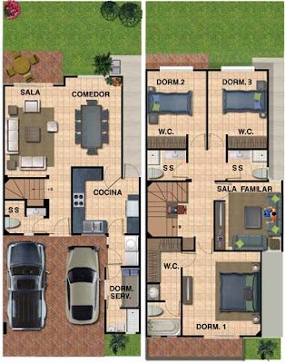 Planos de casa de 180 metros cuadrados con 133 m2 de for Casa moderna 7x15