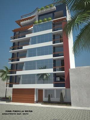 Fachada de edificio de viviendas departamentos frente al for Viviendas minimalistas