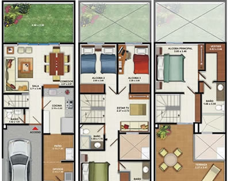 Plano de casa de 160m2 3 pisos 4 dormitorios mervin diecast for Planos de casas de 3 pisos