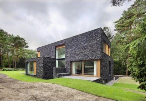 Fachada de casa con piedras oscuras solo fachadas de casas - Piedra fachada exterior ...