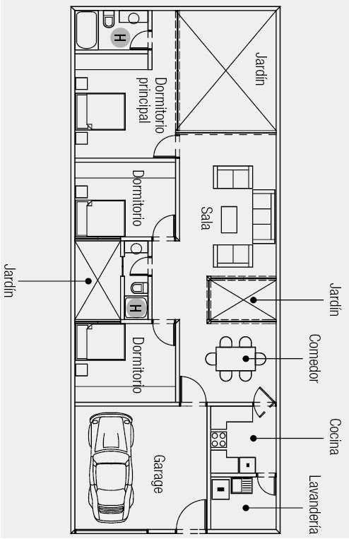 Plano de casa de una sola planta 160 m2 de terreno for Casas alargadas