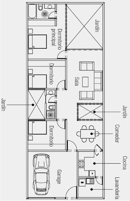 Plano de casa de una sola planta 160 m2 de terreno for Planos de casas 90m2