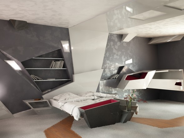 Futuristic Bedroom Interior Design 590 x 443