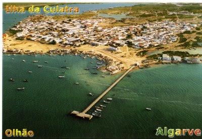 Île de Culatra, le port, le village vu du ciel