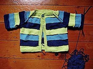 baby jacket - blues and greens