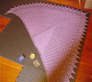 laminara shawl pinned out on blocking mat