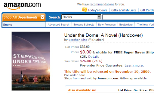 Under the Dome only 9 dollars in Amazon.com