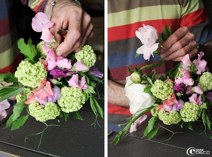 Premières étapes de la création d'un bouquet de fleur par Philippe Martinez, fleuriste à Montpellier
