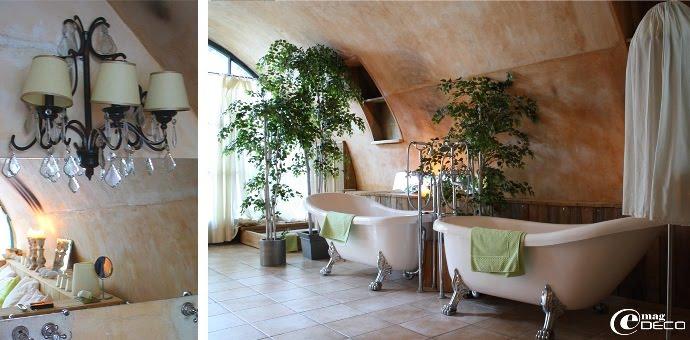 Salle de bain voûtée de la chambre L'Aube