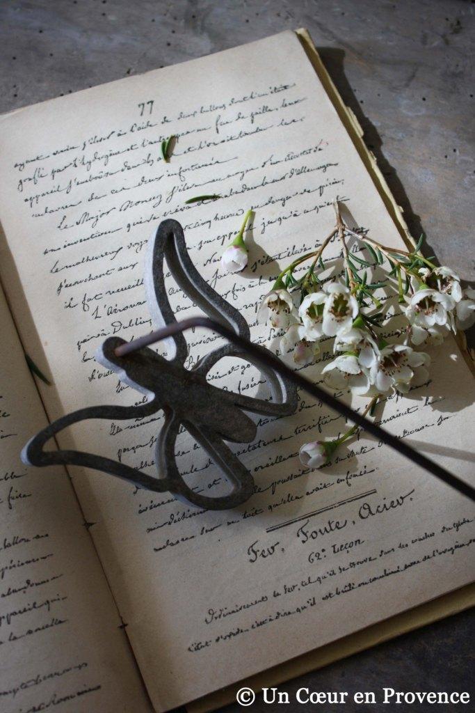 Un ancien fer à beignets posé sur un vieux livre d'écriture