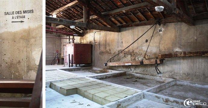 Salle des mises, les pains de savon sont retirés au fur et à mesure de la production