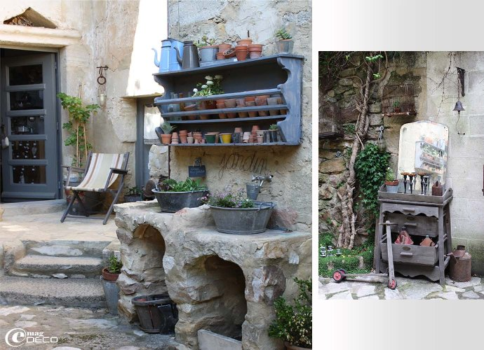 Des consoles en pierres maçonnées servent d'atelier de rempotage