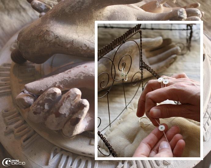 Des bijoux réalisés avec d'ancien boutons de nacre signés « Vox Populi »