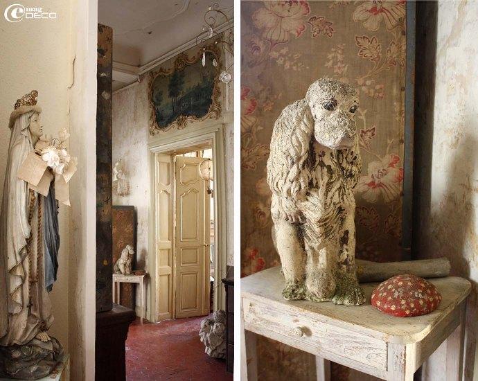 Appartement XVIIIe en Avignon avec ses décors peint comme ce médaillon au-dessus d'une porte