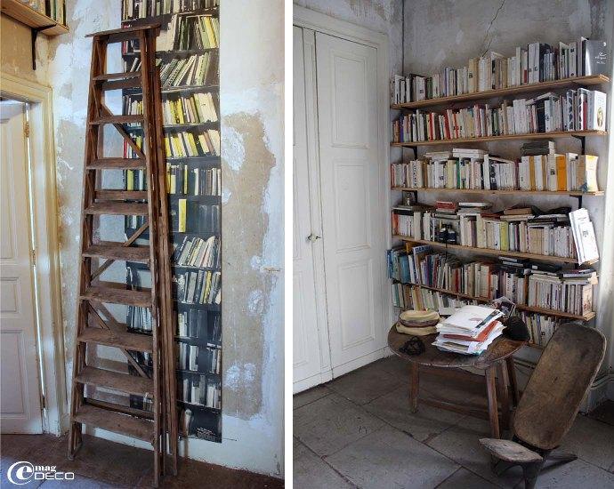 Escabeau en bois et papier peint Books design Deborah Bowness