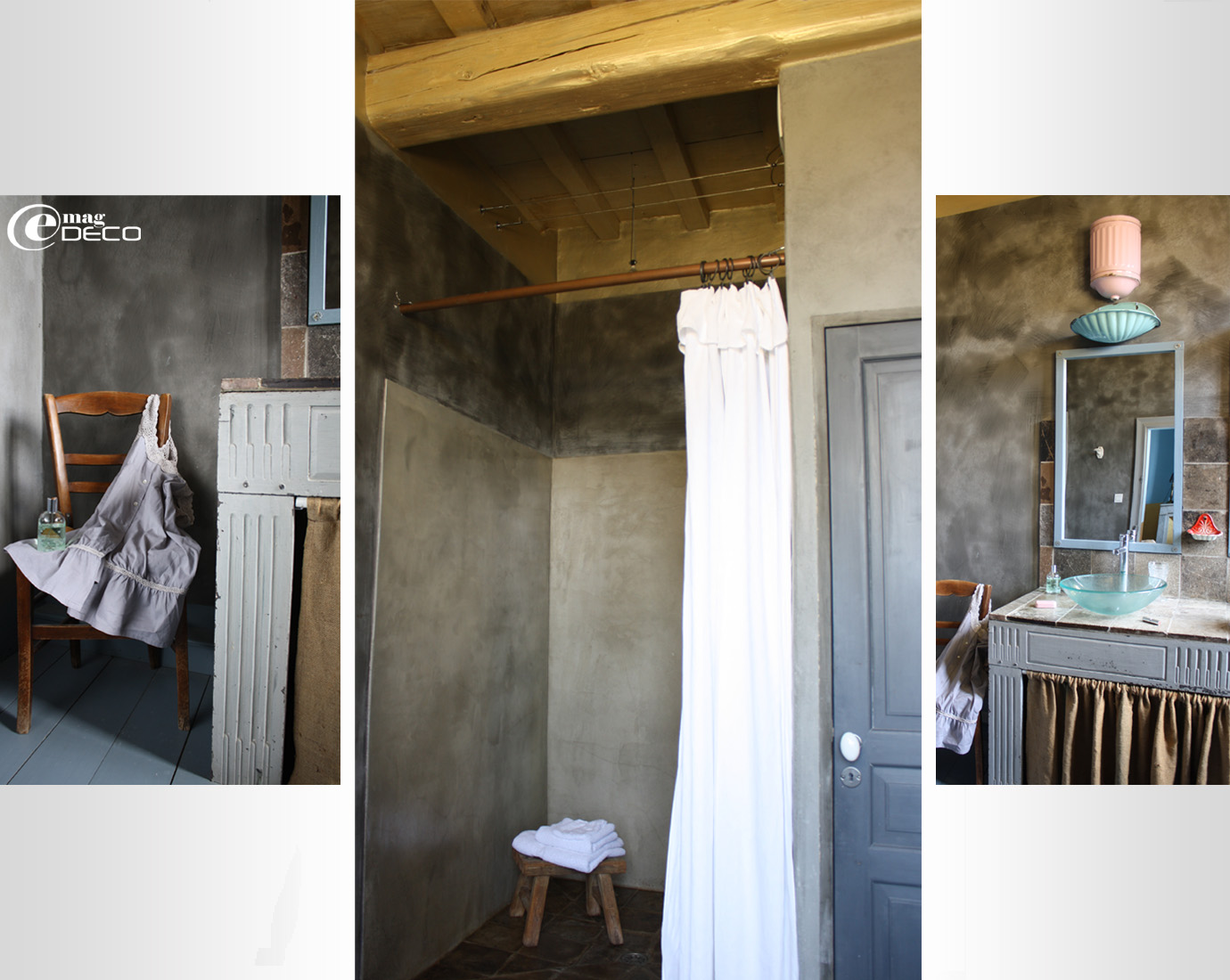 Douche à l'italienne en stucco coloré