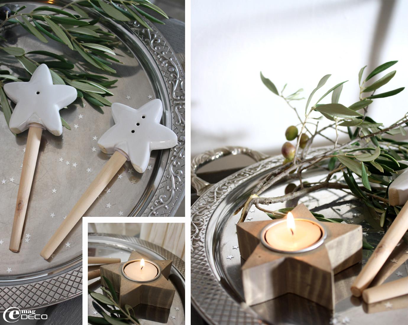 Baguettes Les Étoiles et lumignon étoile en bois découpé Maisons du monde