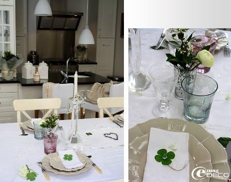 Table dressée dans la cuisine