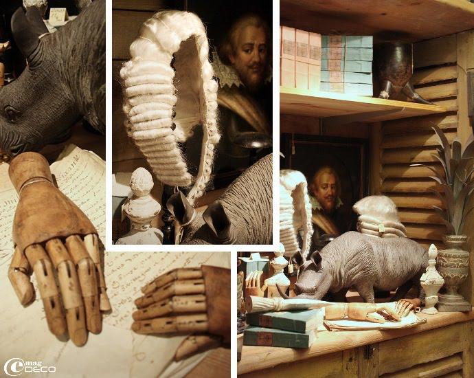 Mains articulées en bois et perruque