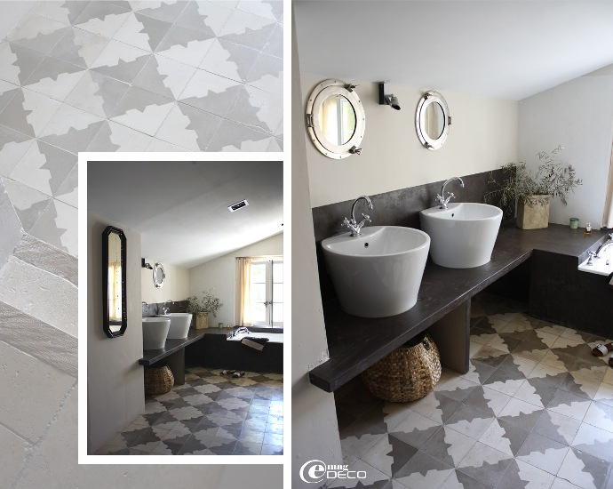 décoration de salle de bain avec ciment ciré