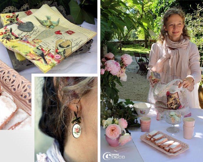 Boucles d'oreilles Romance rose, création Mademoiselle Bohème