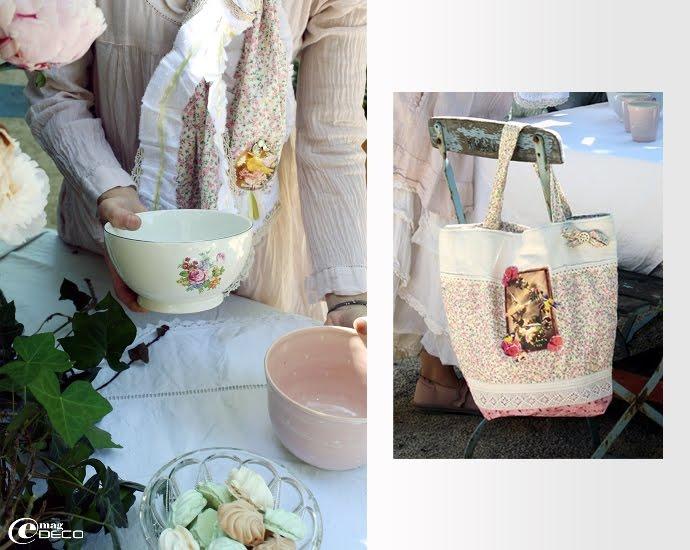 Bol fleuri House doctor et sac cabas, création d'Audélia d'antan